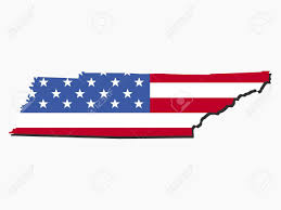 Map Of Tennessee by Map Of Tennessee With American Flag Illustration Stock Photo