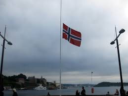 norwegian flags at aker brygge were flying at half mast