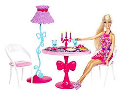 barbie dining room amazon com barbie glam dining room furniture and doll set toys