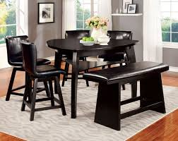 Pc Hurley Collection Modern Style Black Finish Wood Triangular - Counter height dining table swivel chairs