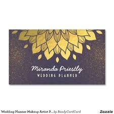 wedding planner makeup artist purple gold flower business card