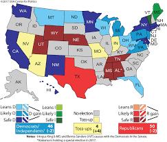 Republican States Map by Larry J Sabato U0027s Crystal Ball Senate 2018 Republican Edge Runs