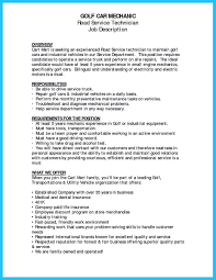 Maintenance Technician Job Description Resume by Automotive Technician Resume Examples