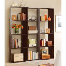 square black polished wood room divider with 16 cube rack open