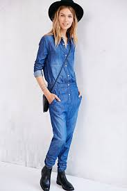 one shorts jumpsuit lyst one teaspoon chambray defender utility jumpsuit in blue