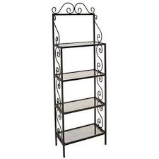 Wooden Bakers Rack Wrought Iron Bakers Racks With Shelves Of Wood Wire Or Glass