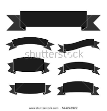 black and white ribbon black ribbon banners set vintage decoration stock vector 574242922