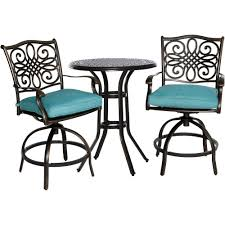 Outdoor Bistro Chair Cushions Round by Cambridge Seasons 3 Piece Patio High Dining Bar Set With Blue