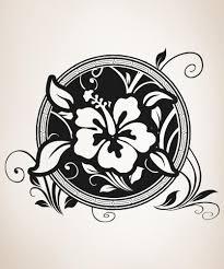 vinyl wall decal sticker hawaiian flower circle os aa379