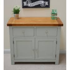 camborne sea green oak small sideboard twin cupboard twin drawer