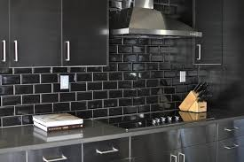 Black Metal Kitchen Cabinets Stainless Steel Kitchen Cabinets With Black Subway Tile Backsplash