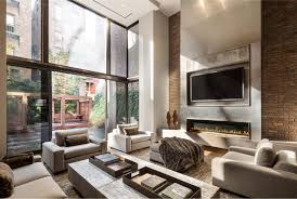 fine cozy modern living room with fireplace accent wall and custom
