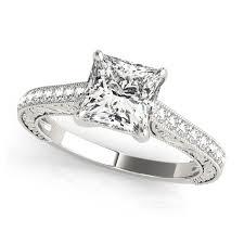 cheap princess cut engagement rings vintage princess cut engagement ring side stones filigree