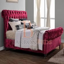 Velvet Sleigh Bed Bedframe Zara Castello Romantic Scroll Sleigh Bed Frame Finished