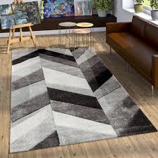 Schlafzimmer Grau Creme Designer Teppich Modern Mit Konturenschnitt Stylish Grau Schwarz