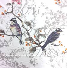 hm121 stunning birds watercolor floral cotton textured home decor