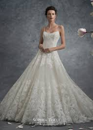 spaghetti strap lace and tulle ball gown wedding dress sophia