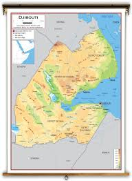 Physical Features Map Of Africa by Djibouti Physical Educational Wall Map From Academia Maps