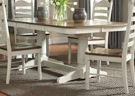 Double Pedestal Dining Room Table Springfield Honey And Cream Rectangular Extendable Double Pedestal