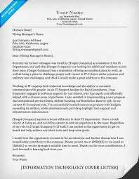 Examples Of Email Cover Letters For Resumes by Information Technology It Cover Letter Sample Resume Companion