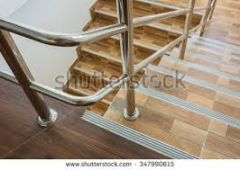 Stainless Steel Banister Staircase Residential House Stainless Steel Banister Stock Photo