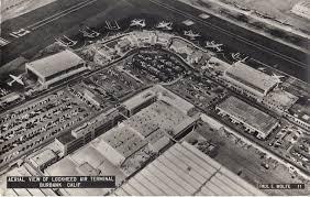 aerial view lockheed air terminal postcard in burbank