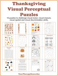 thanksgiving visual perceptual puzzles your therapy source
