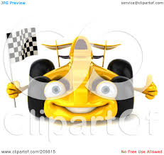 royalty free rf clipart illustration of a 3d yellow formula one