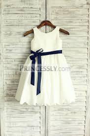 sleeveless ivory cotton flower dress with navy blue sash