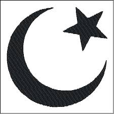 islam crescent moon and symbol embroidery design from