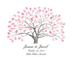 wedding tree guest book personalized thumbprint tree wedding guest book alternative