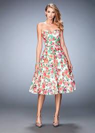 beautiful strapless floral print multi lace tea length prom dress