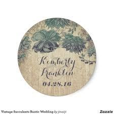 vintage succulents rustic wedding classic round sticker wedding