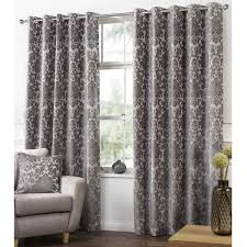 Demask Curtains Camden Damask Latte Woven Chenille Lined Eyelet Curtains Dove Mill