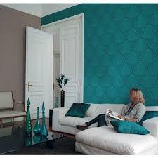 chambre peinte en bleu papier peint baroque floral bleu canard et kaki métallis casadéco