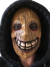 wooden wood face killer latex mask full head halloween horror