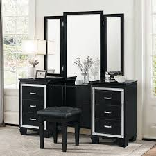 Dresser Vanity Bedroom Allura Vanity Dresser W Mirror Black Bedroom Vanities