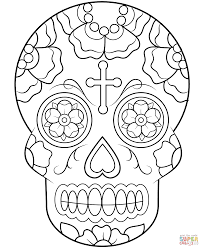 calavera sugar skull coloring page free printable coloring pages