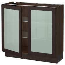 Glass Door Kitchen Cabinet Sektion Base Cabinet With 2 Glass Doors Wood Effect Brown