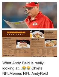 Andy Reid Meme - bre a kf a st pancakls french st scrambles what andy reid is
