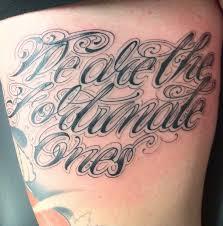tattoo writing on thigh tattoo script