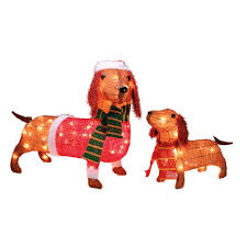Christmas Yard Decoration Images Set Of 2 Light Up Wiener Dogs Outdoor Decoration Set
