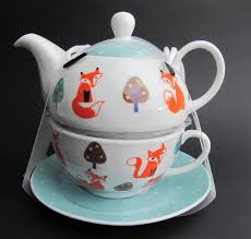 fox tea for one china teapot u0026 cup u0026 saucer set blue teapot