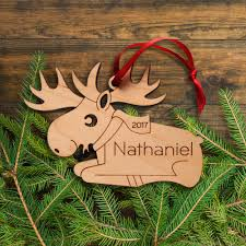 moose wooden christmas ornament graphic spaces