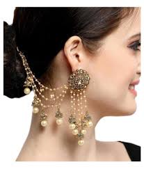 earrings images aadita bahubali design heavy earrings with hair chain for women
