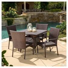 5 Pc Patio Dining Set Wesley 5pc Wicker Patio Dining Set Brown Christopher