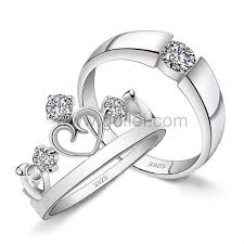 Sterling Silver Engravable Jewelry Personalized Sterling Silver Zirconia Crown Couples Rings