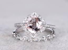 morganite engagement ring white gold 2 morganite bridal ring set engagement ring white gold