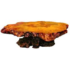 Redwood Coffee Table Redwood Burl Coffee Table With Irridescant Carnival Glass Crystals