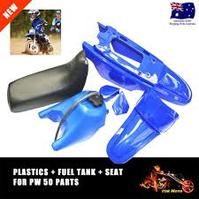 black seat fuel gas tank blue plastics for yamaha pw50 peewee